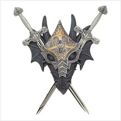 Medieval Armored Dragon Crest Cross Swords Wall Decor
