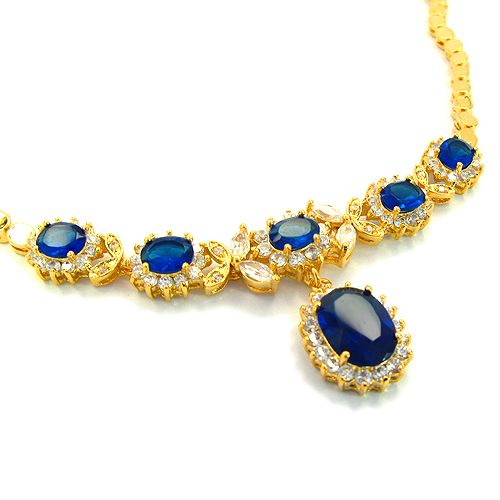 FASHION LADY JEWELRY BLUE SAPPHIRE YELLOW GOLD P PENDANT NECKLACE NECK