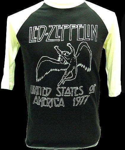 LED ZEPPELIN 1977 US Tour VTG Rock 3/4 Jersey T Shirt S