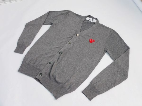 Comme des Garcons Play Gray Cardigan Red Emblem For Men