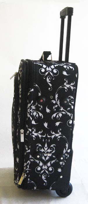 Piece Luggage Set Travel Bag Blk Floral Rolling Wheel