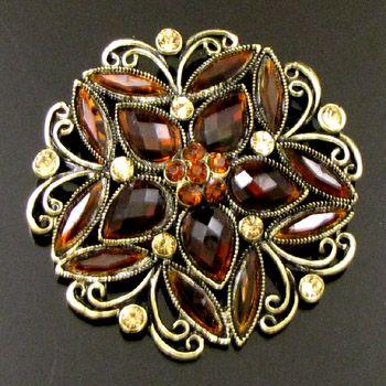 ADDL Item  1 pc antiqued rhinestone crystal flower