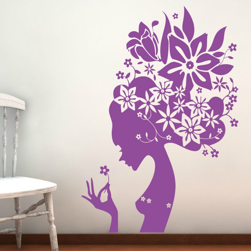 LARGE BEAUTIFUL FLOWER GIRL VINYL WALL STICKER DECAL
