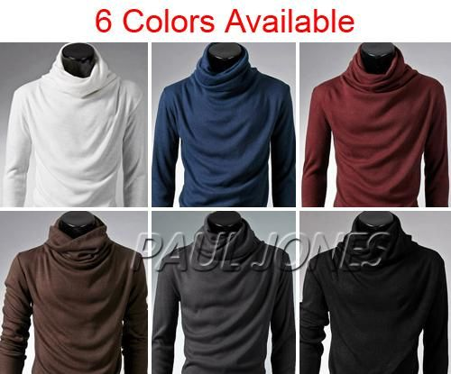 Fashion Designed Mens Casual Longsleeve T shirt Turtleneck Tees IN