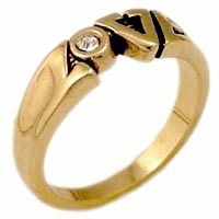 18kt Gold Plated Women`s LOVE Ring with Clear Stone
