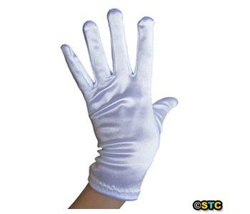 Short Wrist Length White Satin Gloves ~ DANCE WEDDING PROM FORMAL